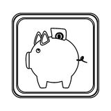 Figure emblem pig to save bill icon. Illustraction design image Royalty Free Stock Photo