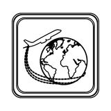 Figure emblem planet earth with a plane close up icon. Illustraction Royalty Free Stock Photography