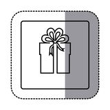 Figure emblem sticker box with bow ribbon icon Stock Images