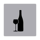 Figure emblem wine bottle with glass icon Royalty Free Stock Photos