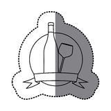 Figure emblem wine bottle and glass icon Royalty Free Stock Photography
