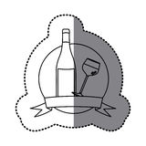 Figure emblem wine bottle and glass with wine Stock Images