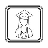 Figure emblem woman graduation icon Royalty Free Stock Photos