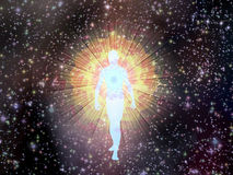 Figure emerges from cosmos Royalty Free Stock Photo