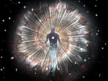 Figure emerges from cosmos. Figure emerges from the cosmos Royalty Free Stock Images
