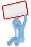 Figure with empty board. Sitting figure with an empty board Royalty Free Stock Photos