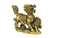 Figure en bronze d'un dragon gardant un dragon de bébé photographie stock libre de droits