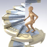 Figure on euro coin stairs. Wooden figure climbing up a winding stairs made of a one euro coin, 3d rendering Stock Image