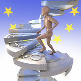 Figure on euro coin stairs 2. Wooden figure climbing up winding stairs made of a one euro coin, 3d rendering, european union flag, logo background Stock Photos