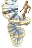 Figure on euro coin stairs 3. Wooden figure climbing up winding stairs made of a one euro coin, 3d rendering on white background Stock Image