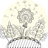 Figure fabulous dandelion. Linear solution for col. Oring Royalty Free Stock Photography
