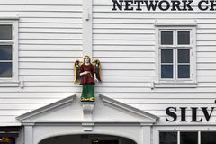 The figure on the facade of the old house Royalty Free Stock Photography