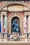Figure on facade of palazzo in Bologna city Stock Photos