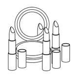 Figure face powder with lipsticks icon. Illustraction design Stock Photos