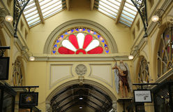 The figure of Father Time at Royal Arcade in Melbourne. MELBOURNE, AUSTRALIA - JANUARY 24, 2016: The figure of Father Time at Royal Arcade in Melbourne. The Stock Images