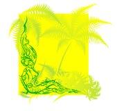 Figure femelle nue se reposant dans les tropiques. Image stock