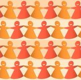Figure femminili tagliate della catena della carta in tonalità di arancio e di giallo illustrazione vettoriale