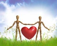 Figure fictive coeur de valentine de fixation Image libre de droits
