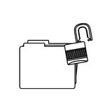 Figure file and open lock icon Royalty Free Stock Photography