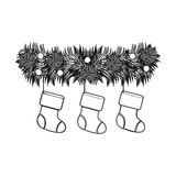 Figure fir with christmas boots icon Stock Images