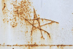Figure five-pointed star on the metal. Texture of rusty metal Royalty Free Stock Photos
