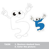 Figure Five to be traced. Vector trace game. Stock Photography