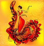 Figure of flamenco dancer and music Stock Photography