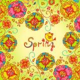Figure fleurs de ressort, fond coloré illustration libre de droits