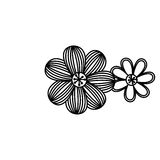 Figure flowers with ovals petals icon Royalty Free Stock Images