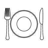 Figure fork, knife and plate icon image Stock Photo