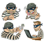 Figure four thieves. Painted characters in various roles, thieves, hackers and scammers Royalty Free Stock Image
