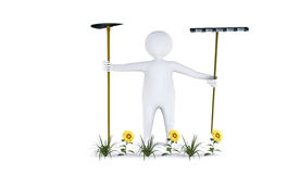 Figure with garden tools. Isolated on white Royalty Free Stock Photography