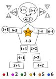 Figure of geometric shapes with numerical examples for young children Stock Images