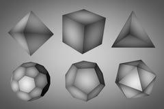 Figure geometriche in bianco e nero tetraedro, hexahedron, ottaedro, icosaedro, dodecahedron e tronco Royalty Illustrazione gratis