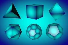 Figure geometriche tetraedro, hexahedron, ottaedro, icosaedro, dodecahedron e icosaedro tronco sul blu Illustrazione Vettoriale