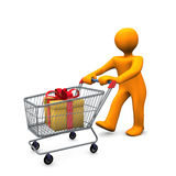 Figure with gift. In shopping cart Stock Photo