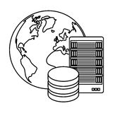 Figure global database server banner icon. Design,  illustration Royalty Free Stock Photos