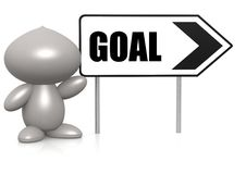 Figure with goal sign board. Hi-res original rendered computer generated artwork Royalty Free Stock Photography