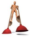 Figure going on plunger stilts. Rendering on white background Stock Image