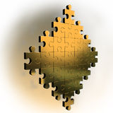 Figure of gold puzzle. On 3d image render figure of gold puzzle Royalty Free Stock Photo