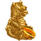 Figure of Golden dragon with an offering. Asian symbol Royalty Free Stock Photos