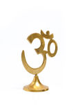 Figure of golden indian symbol aum. isolated Royalty Free Stock Photos