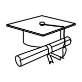 Figure graduation hat with diploma. Illustraction design Stock Images