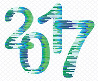 Figure 2017 from green and blue stripes. Figure 2017 executed in green blue stripe Royalty Free Stock Images