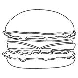 Figure hamburger fast food icon Royalty Free Stock Photo