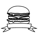 Figure hamburger fast food with ribbon icon. Illustraction design Royalty Free Stock Photo