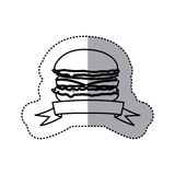 Figure hamburger fast food with ribbon icon Stock Photo