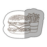 Figure hamburger and fries french icon Stock Image
