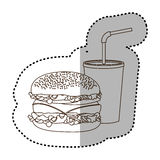 Figure hamburger and soda flat icon Royalty Free Stock Photos