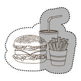 Figure hamburger, soda and fries french icon Stock Image